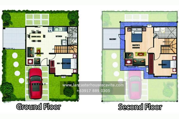 Gabrielle house model lancaster houses for sale in cavite for Model house design with floor plan